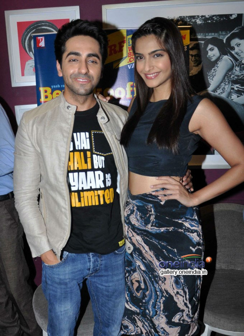 Sonam and Ayushmann promote Bewakoofiyan at a coffee shop Photos