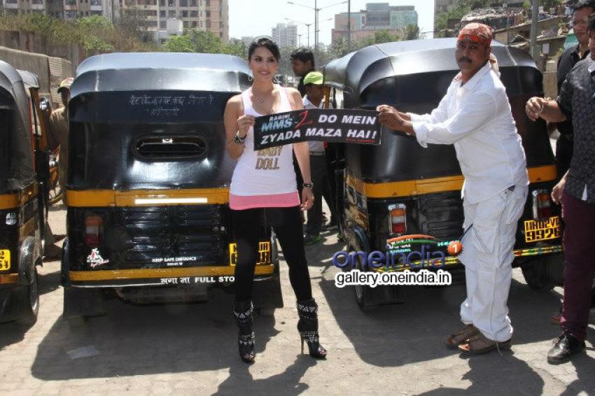 Sunny Leone flags off Ragini MMS 2 branded Auto Rickshaws Photos