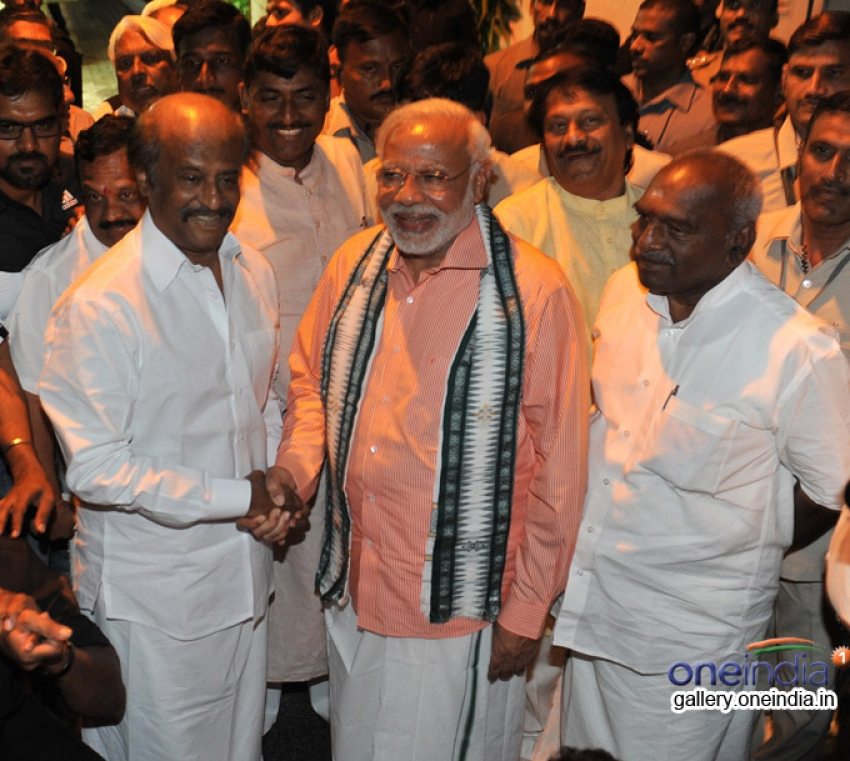 Narendra Modi meets Rajinikanth in Chennai Photos