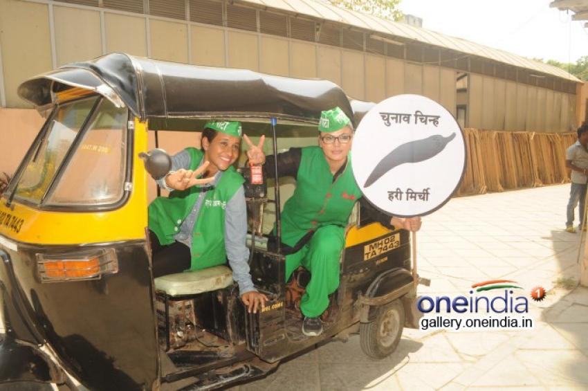 Rakhi Sawant drives around town with women Auto Rickshaw driver Photos
