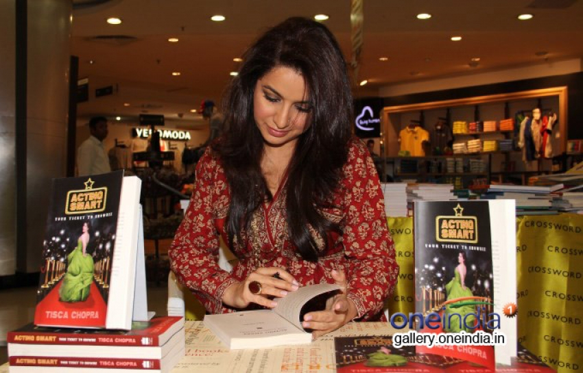 Tisca Chopra signed book Acting Smart for fans at Landmark Photos