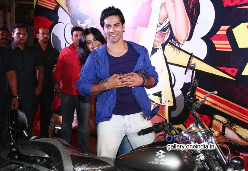 Varun Dhawan and Ekta Kapoor promotes Main Tera Hero by riding a bike Photos