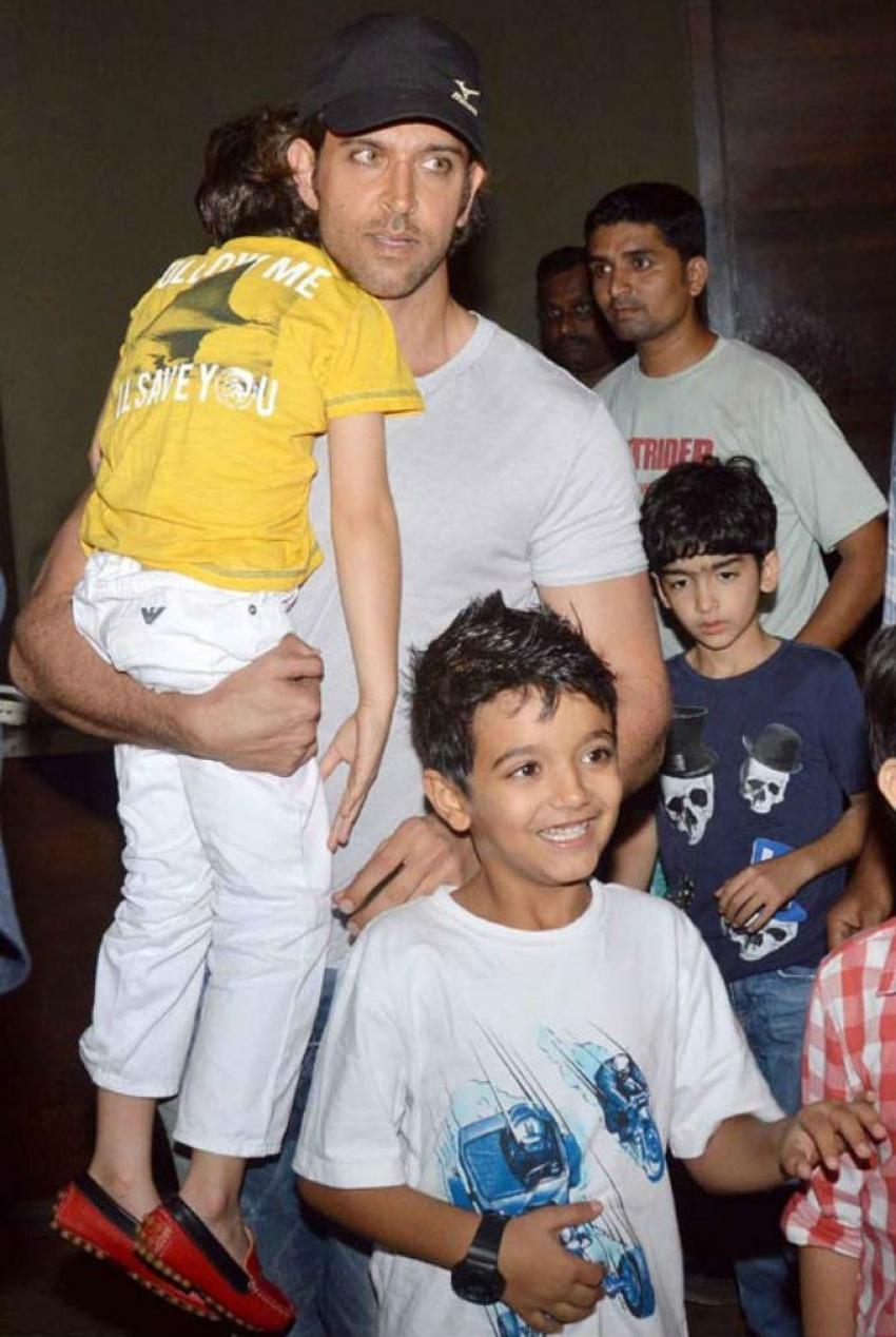 Hrithik Roshan and his kids at X-Man Screening Photos