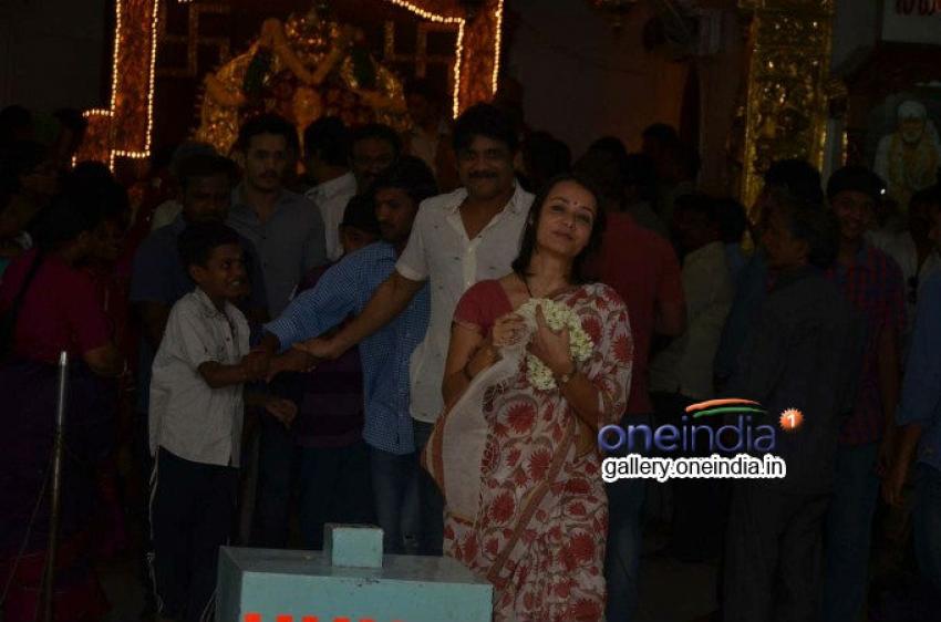 Nagarjuna family visited Sai Baba Temple Photos