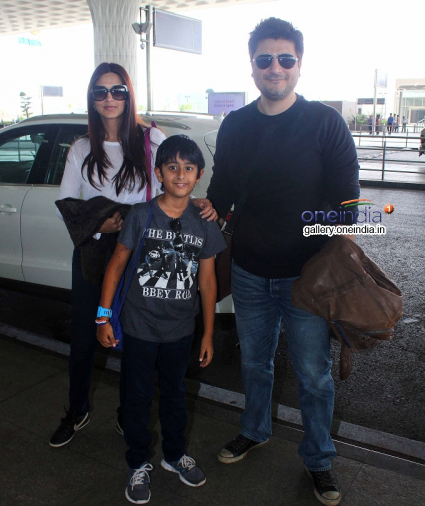 Sonali Bendre with Husband and Son Leaves for Vacations in London Photos
