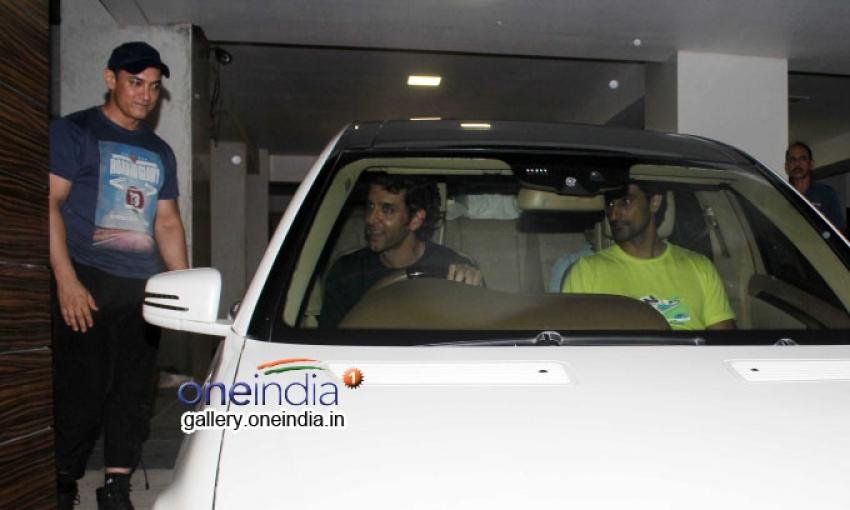 Hrithik Roshan snapped at Aamir Khan house after football match Photos