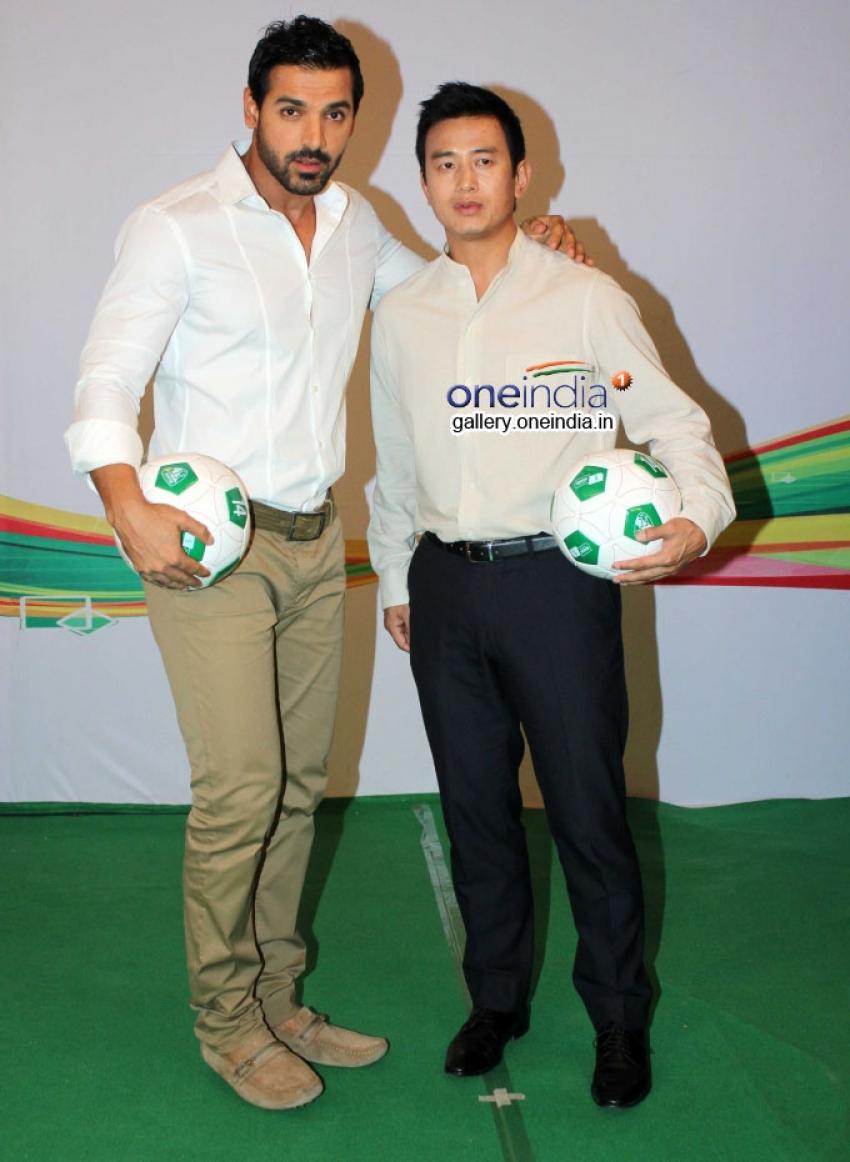 John and Baichung Bhutia at India's Biggest Football Hangout Using Google Lightbox Technology Photos