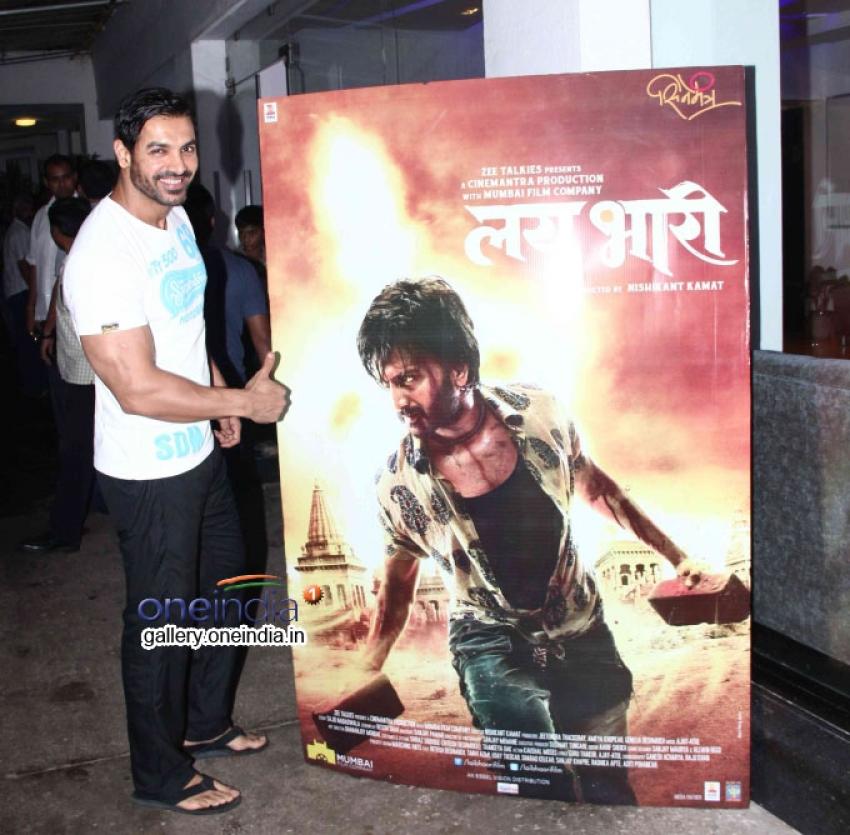 John Abraham snapped at Marathi Film 'Lai Bhaari' Screening Photos
