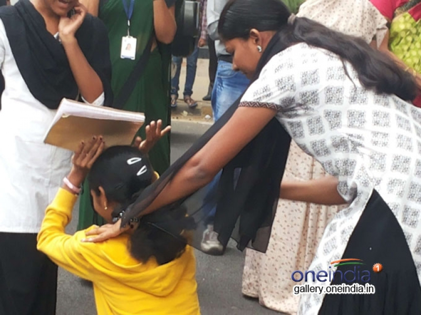 Protest by NMKRV girls against sexual harassment Photos