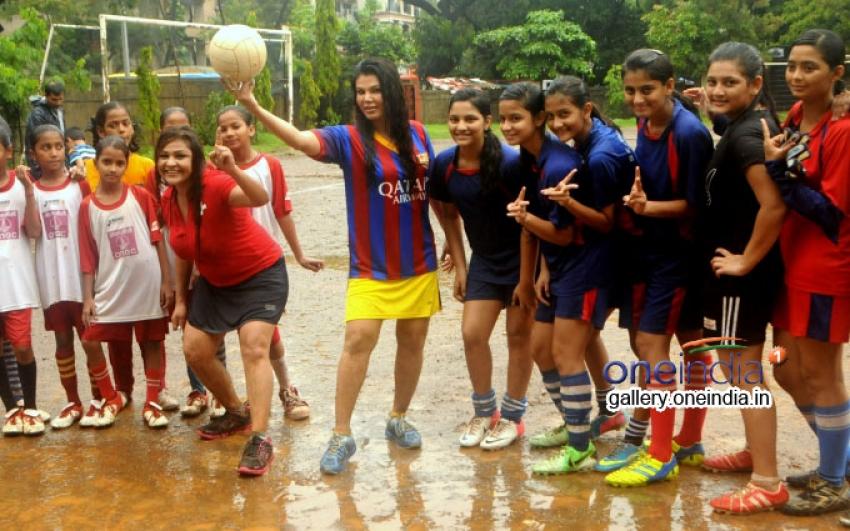 Rakhi Sawant and Carlyta Mouhini plays football Photos