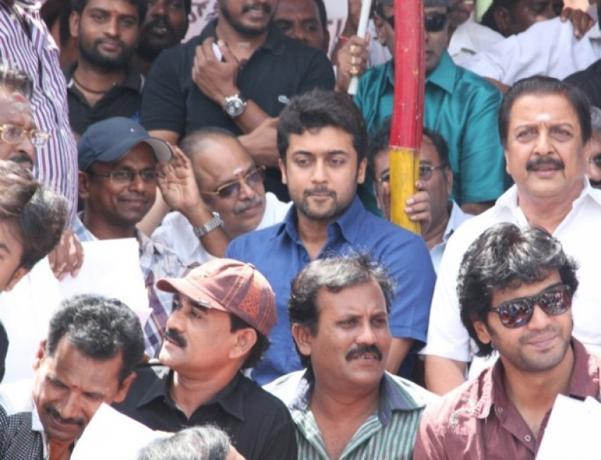 Tamil Film Industry protest to shut down the Sri Lankan Embassy Photos