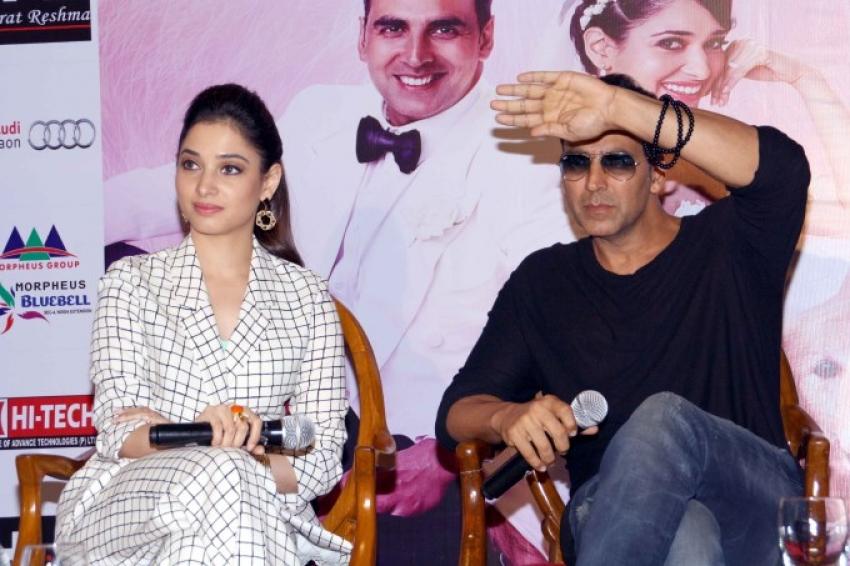 Akshay Kumar and Tamannaah Bhatia Press Conference for Entertainment Photos