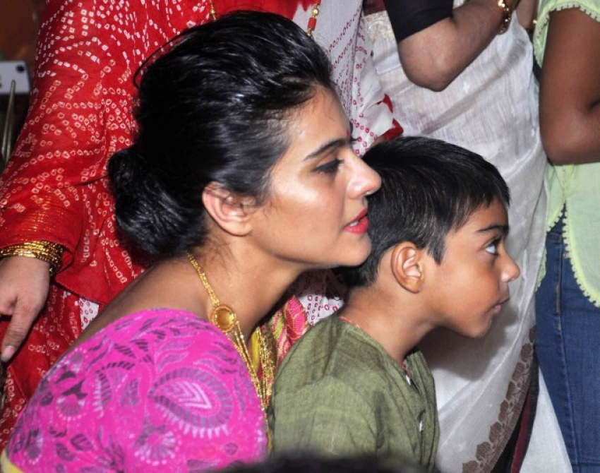 Actress Kajol with Family At Durja Pooja Photos