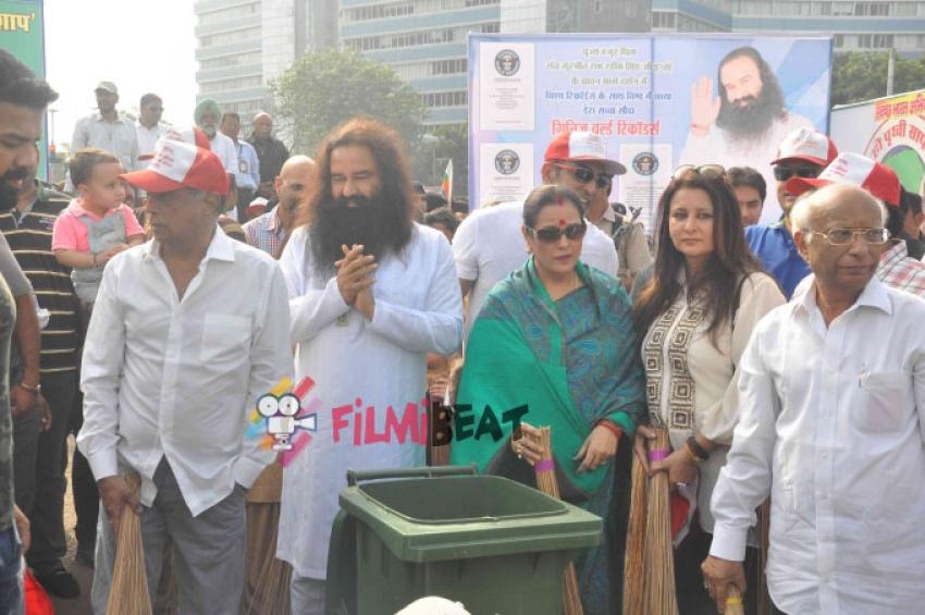 Celebs At Spiritual Guru Gurmeet Ram Rahimji's Cleanliness Drive Photos