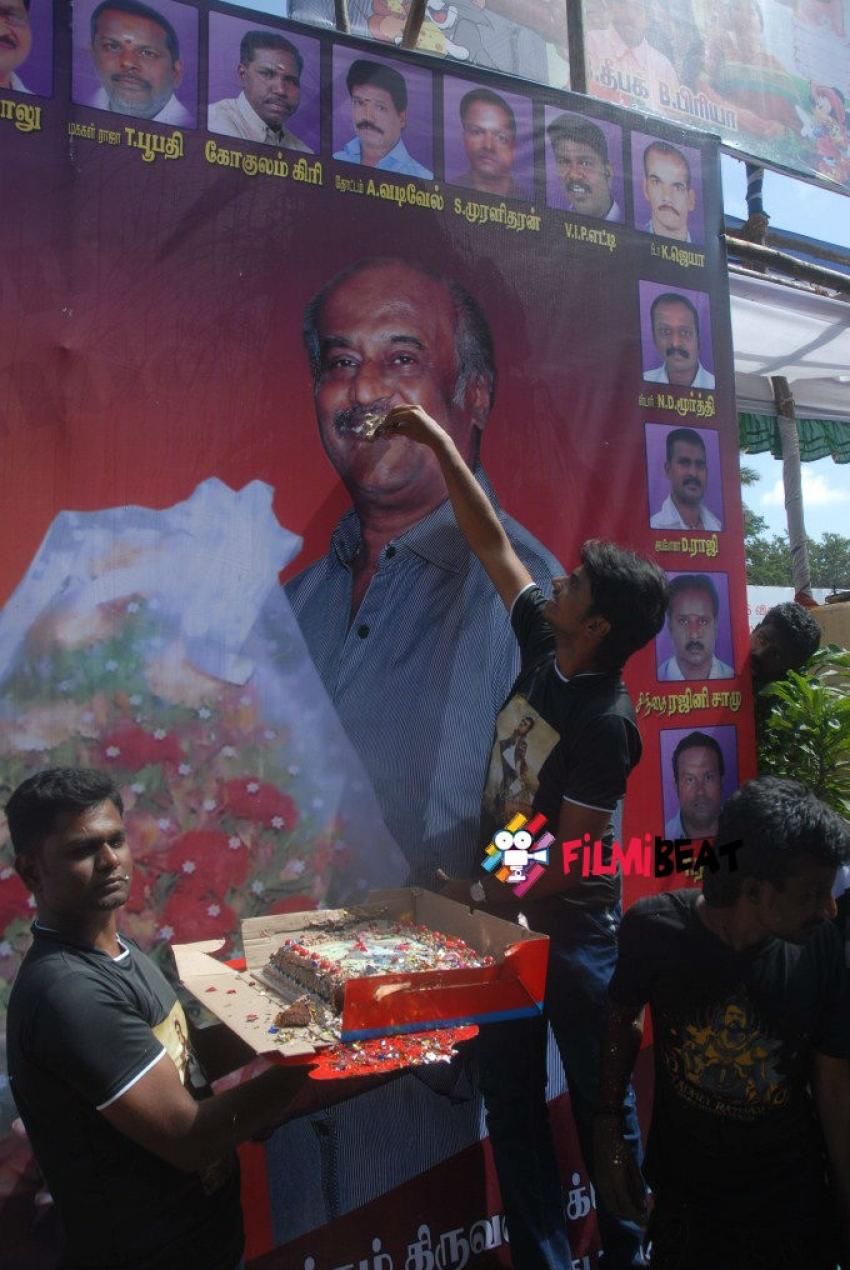 Fans At Rajinikanth's Chennai Residence To Celebrate His 64th Birthday Photos
