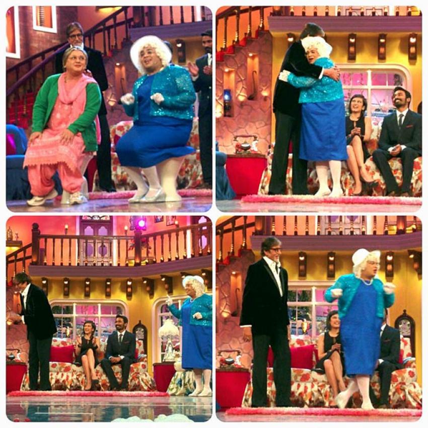 Big B & Dhanush at Comedy Nights with Kapil Photos