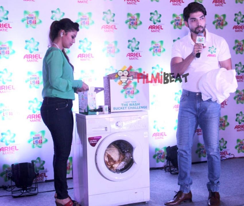 Gurmeet and Debinaa Bonnerjee Take The Ariel Wash Bucket Challenge Photos