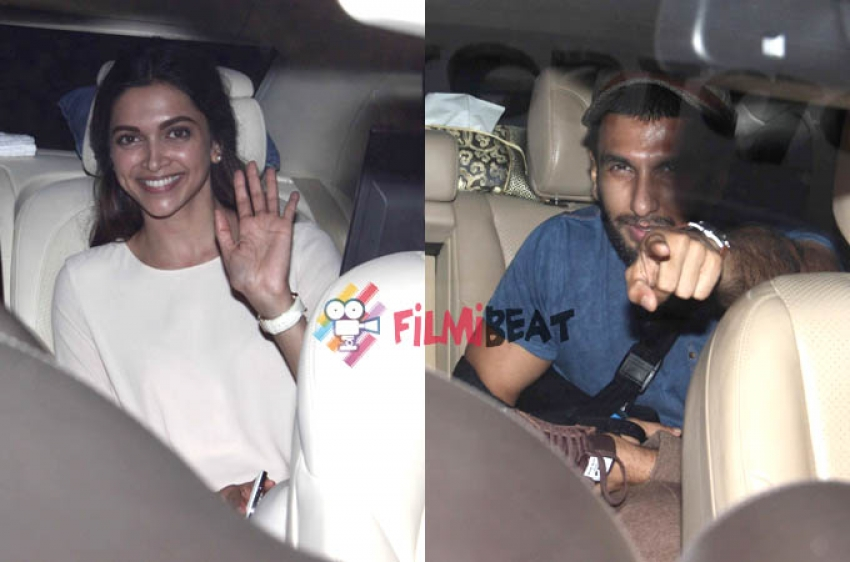 Ranveer Singh & Deepika Padukone Snapped At Karan Johar's Residence Photos