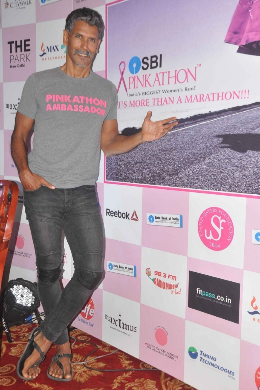 Milind Soman at announcement of SBI Pinkathon 2015 Photos