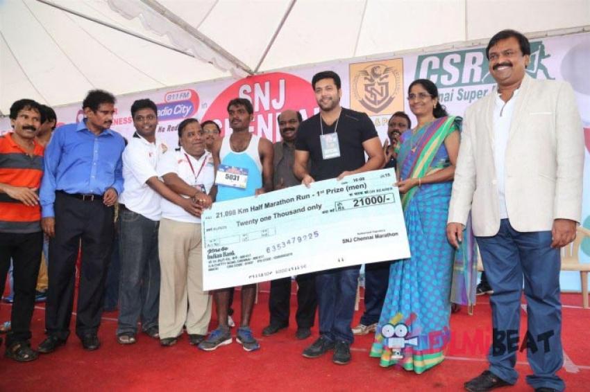 Jayam Ravi At SNJ Chennai Marathon Photos
