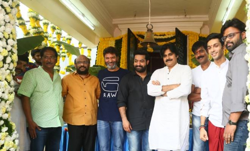 NTR & Trivikram Combination Haarika & Hassine Creations Production No 5 Launch Photos