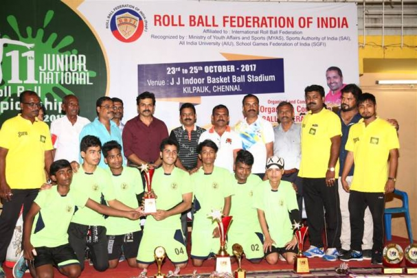 Karthi Felicitate Winners of 11th Junior National Roll Ball Championship 2017 Trophy Photos
