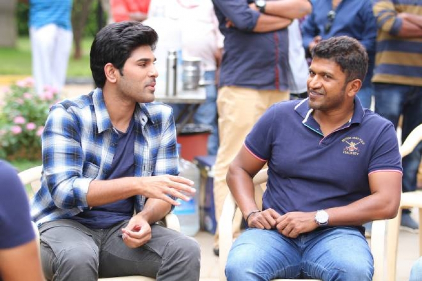 Puneeth Rajkumar Visits Allu Sirish's Okka Kshanam Sets Photos