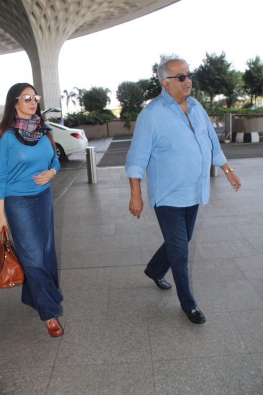 Sridevi Spotted With Her Husband At Airport Photos