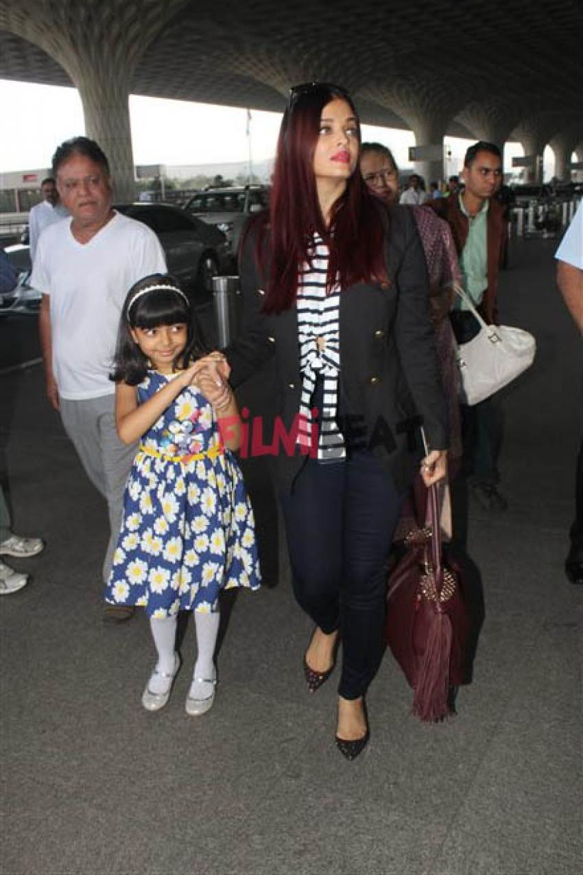 Aishwarya Rai & Aaradhya Bachchan Spotted In Mumbai Airport Photos