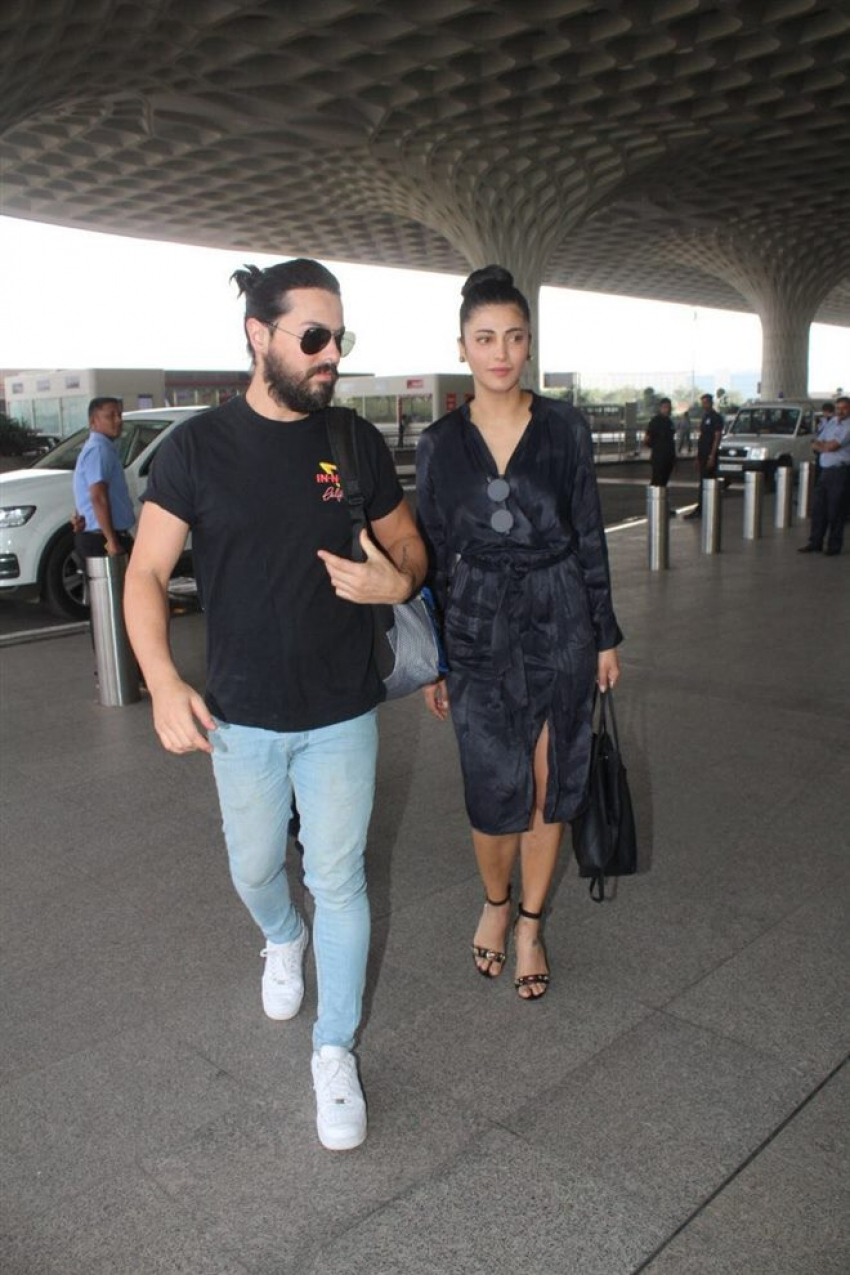 Shruti Hassan With Her Boyfriend Michael Corsale At Mumbai Airport Photos