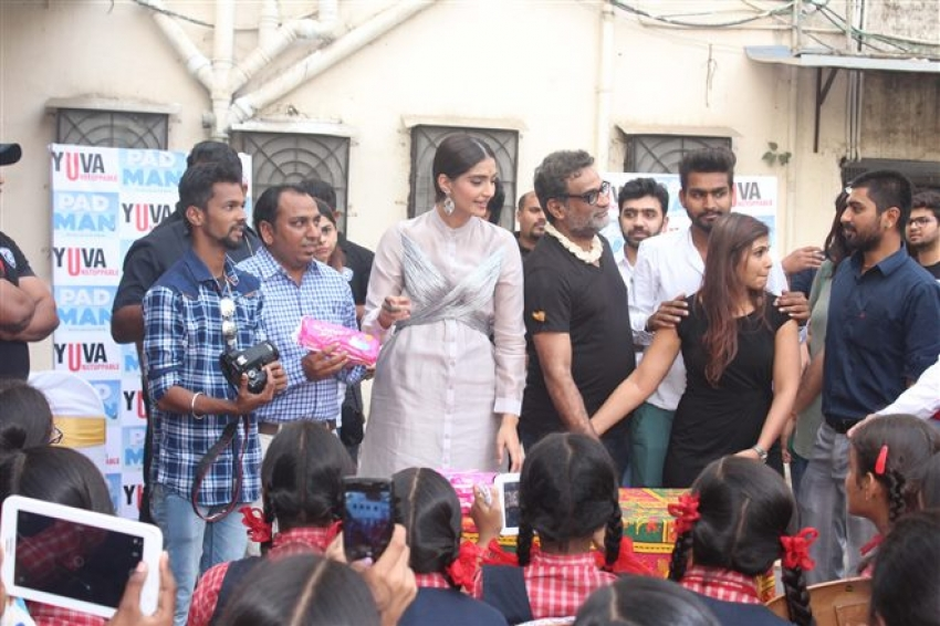 Sonam Kapoor Distributes Sanitary Pads During Padman Promotion Photos