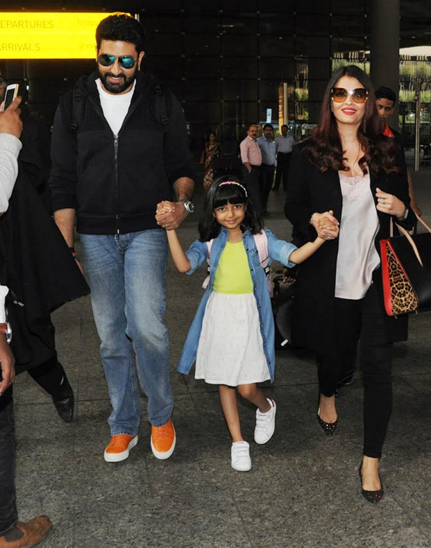 Abhishek Bachchan, Aishwarya  & Aaradhya Bachchan Spotted At Airport Photos