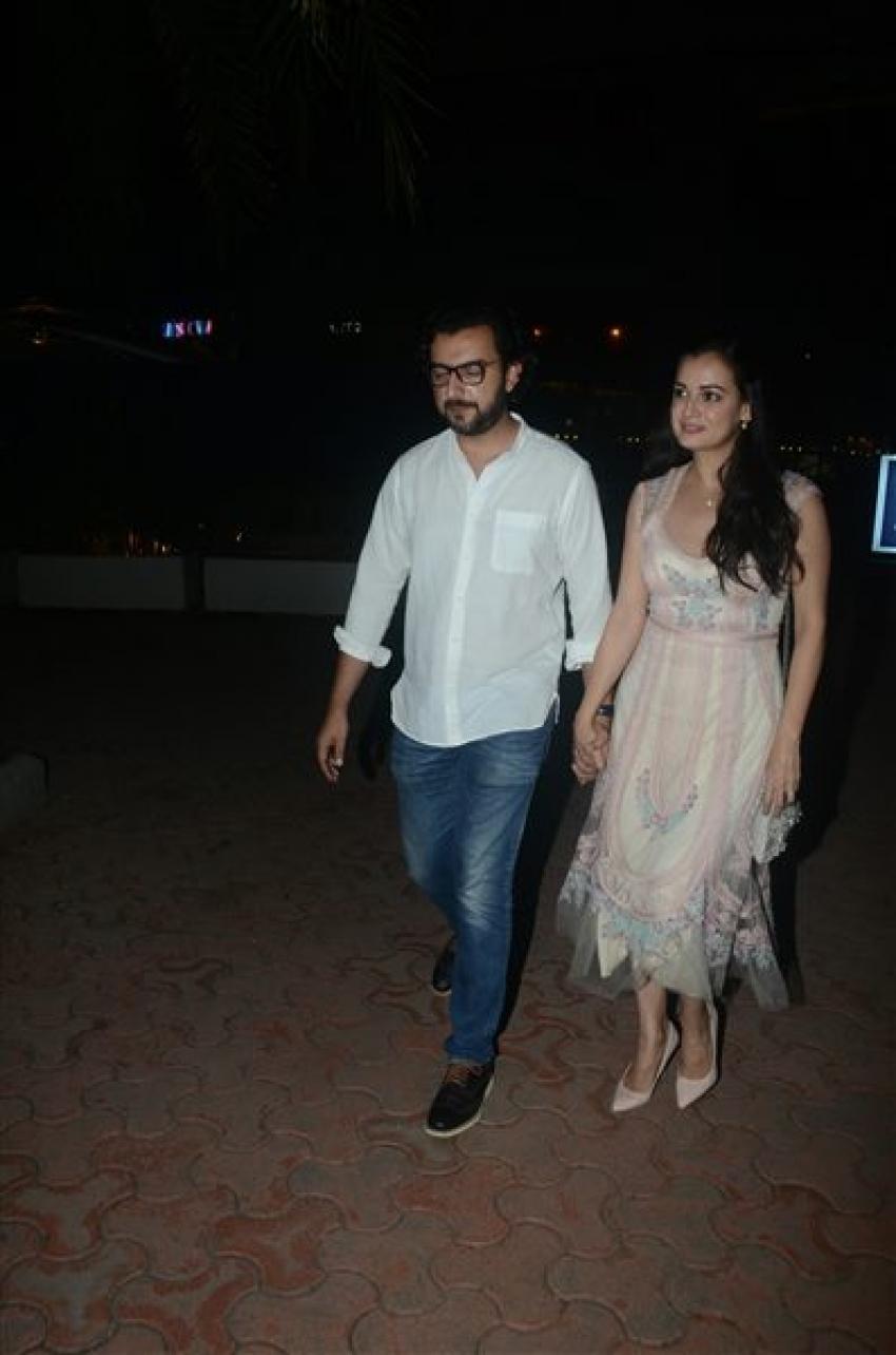 Diya Mirza With Husband Dinner At BKC Photos