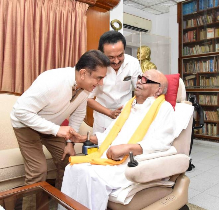 Kamal Haasan's Meeting With M. Karunanidhi And M. K. Stalin Photos