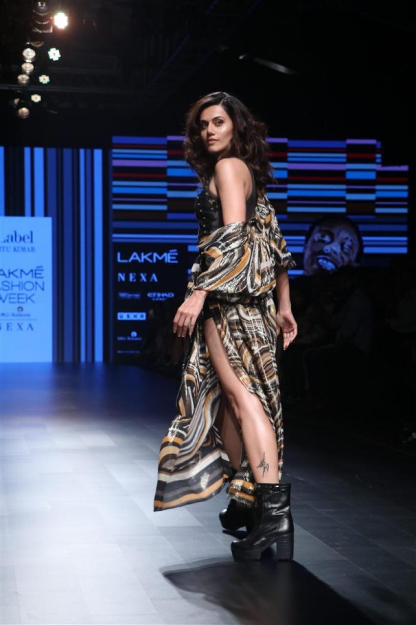 Taapsee Pannu Walks The Ramp At Lakme Fashion Week 2018 Photos