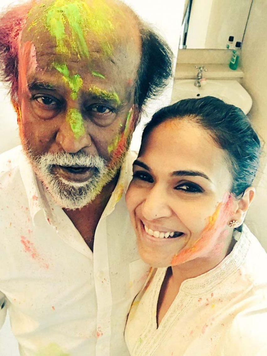 Rajinikanth Celebrates Holi With His Family Photos
