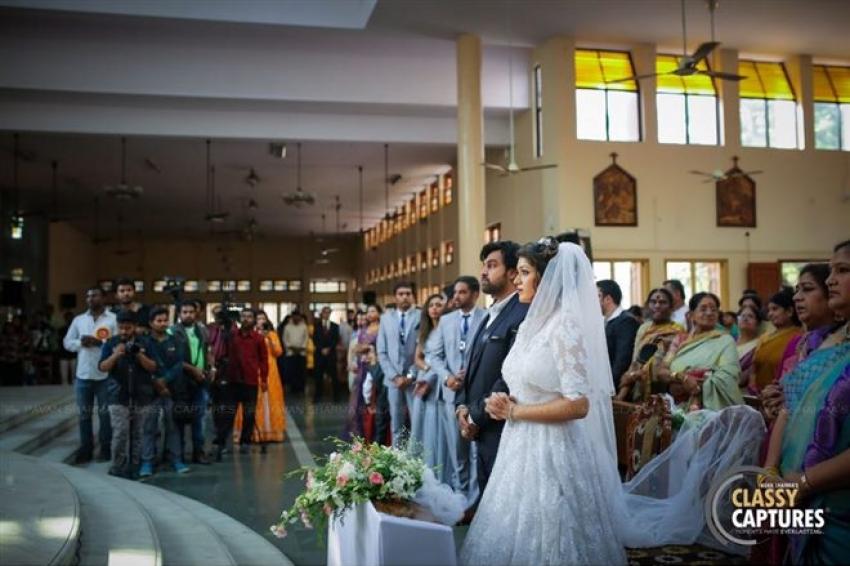 Chiranjeevi Sarja And Meghana Raj Christian Wedding Photos