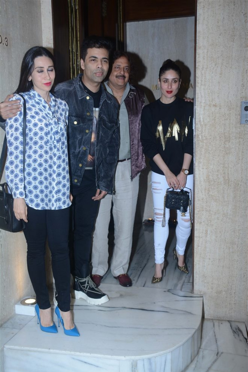 Kareeena, Karisma & Karan Johar Spotted At Manish Malhotra House