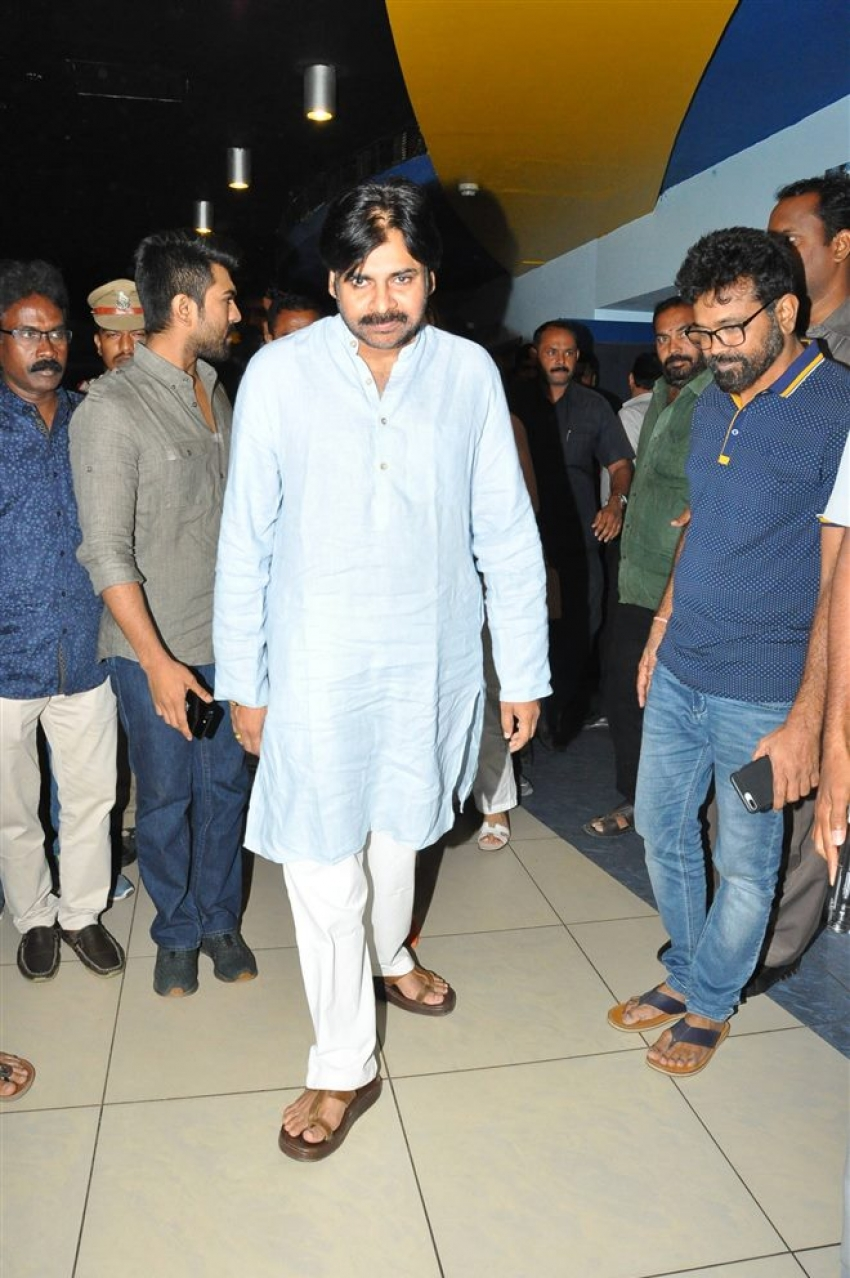Pawan Kalyan Watched Rangasthalam Along With Ram Charan Photos