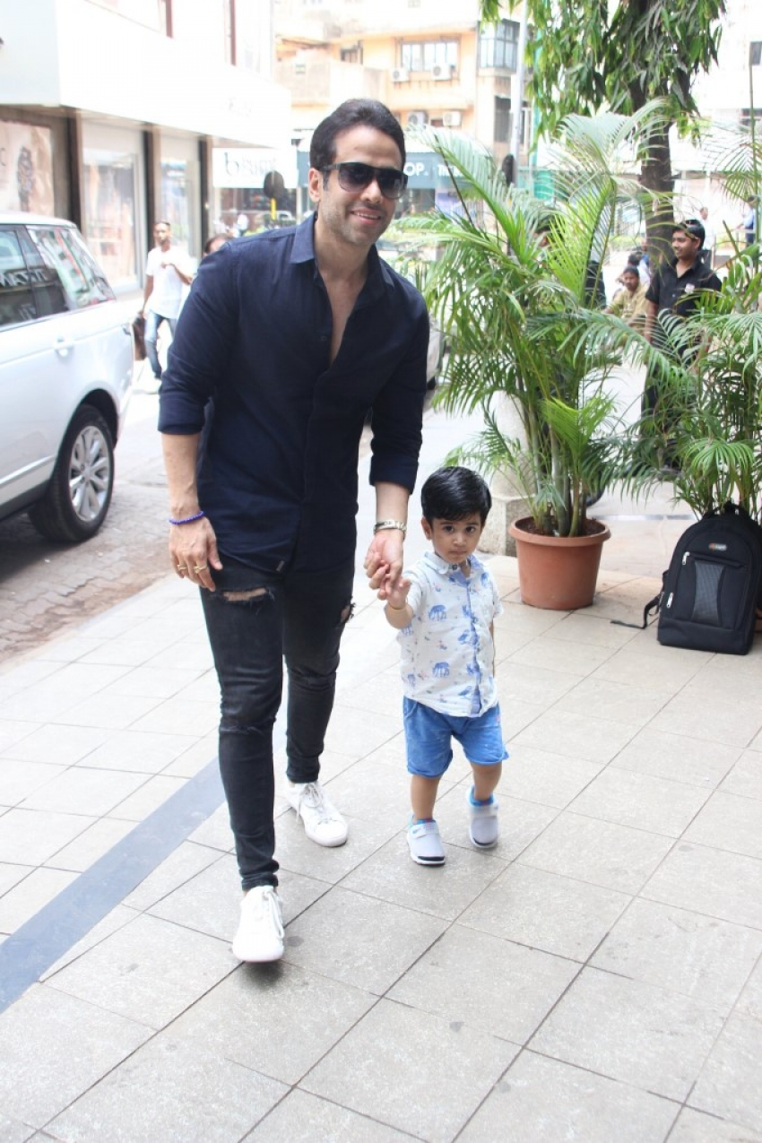 Tushar Kapoor With His Son Lakshya Spotted At Bandra Photos