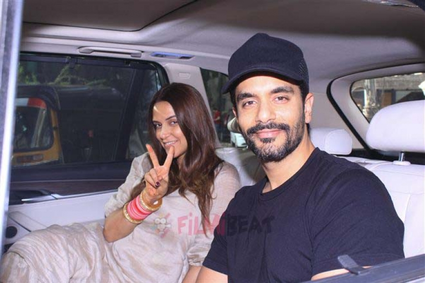 Neha Dhupia With Her Husband Angad Bedi Spotted At Juhu Photos