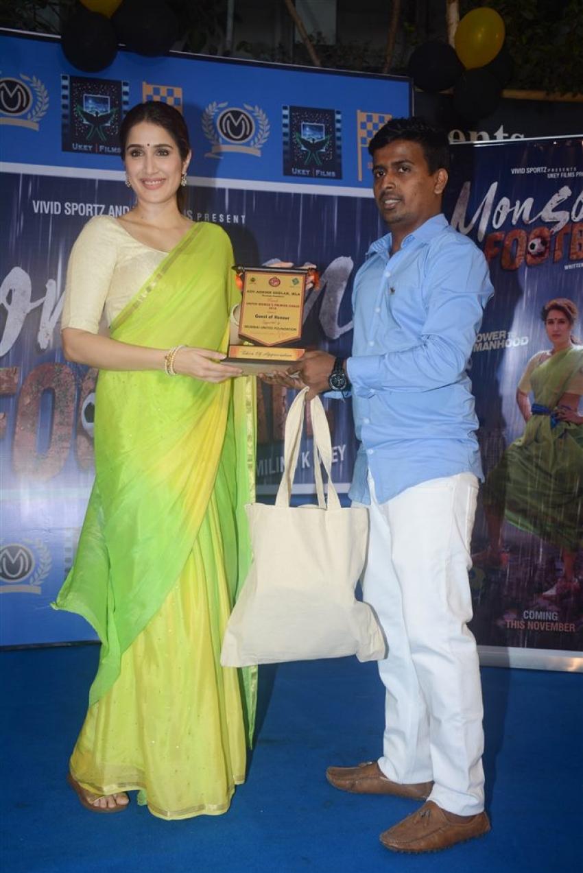 Sagarika Ghatge Promoting Upcoming Movie Masoon Football Photos