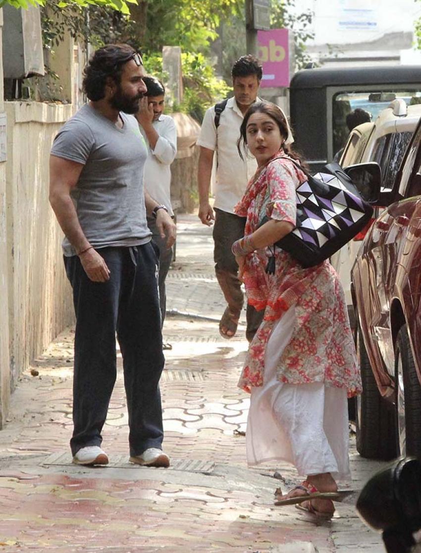 Saif Ali Khan with Daughter Sara At Ajay Kapoor Office Photos