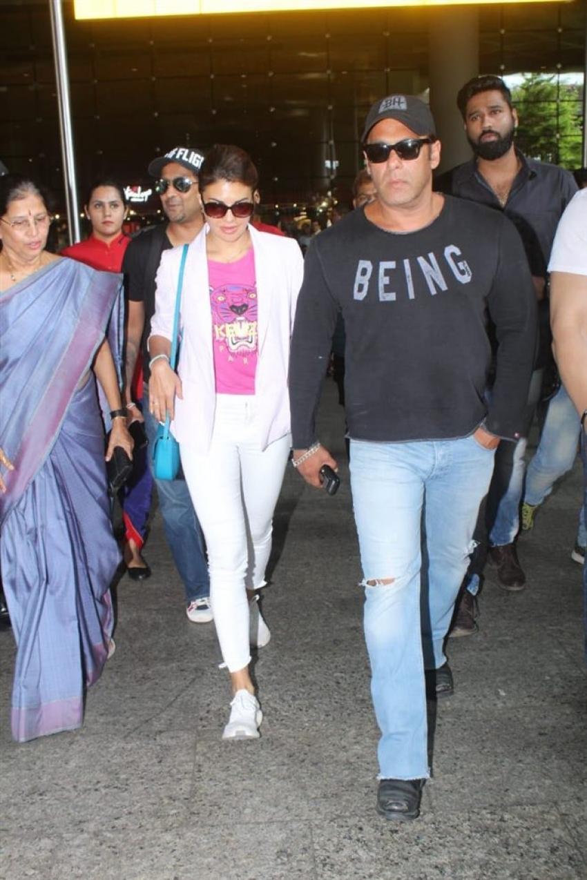 Salman Khan & Jacqueline Fernandez Spotted At Mumbai Airport Photos