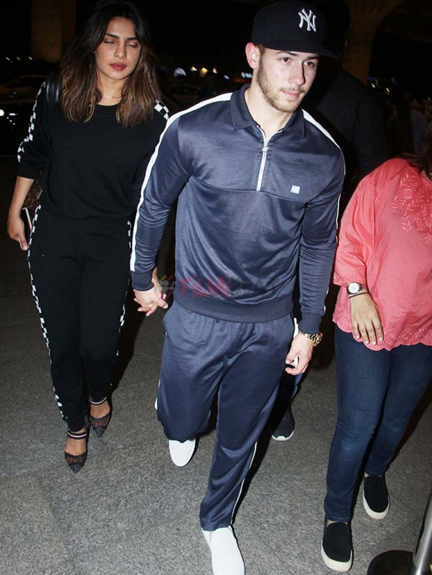 Priyanka Chopra & Nick Jonas Leaves For Dubai From Mumbai Airport Photos