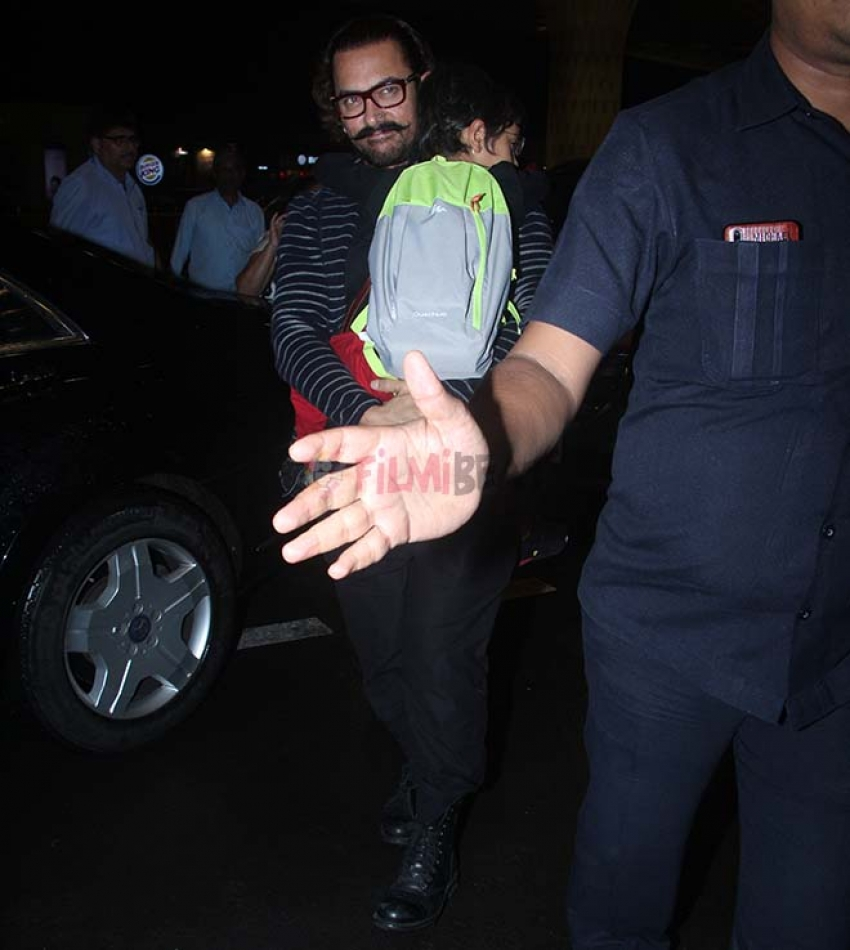 Aamir Khan With His Son Spotted At Airport Photos