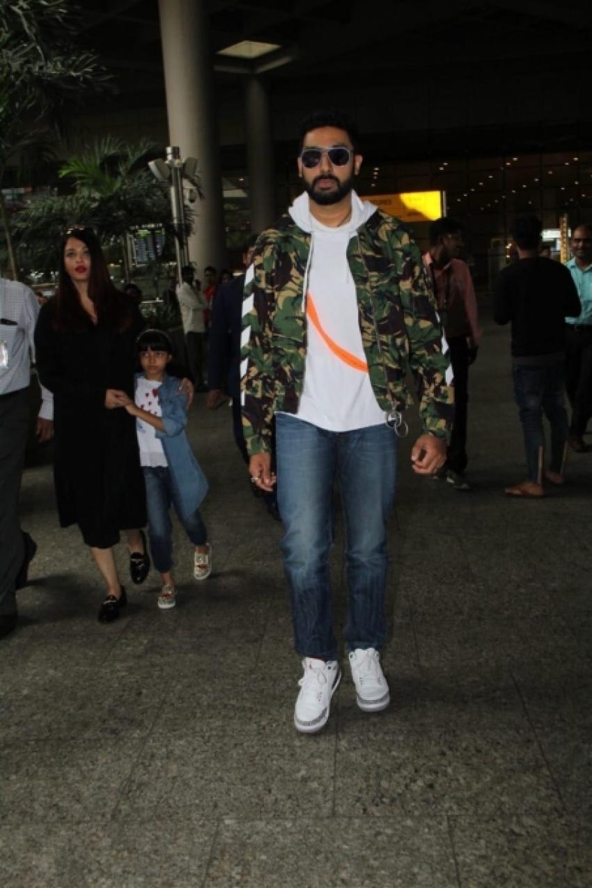 Aishwarya Rai Bachchan & Abhishek Bachchan Spotted At Mumbai Airport Photos