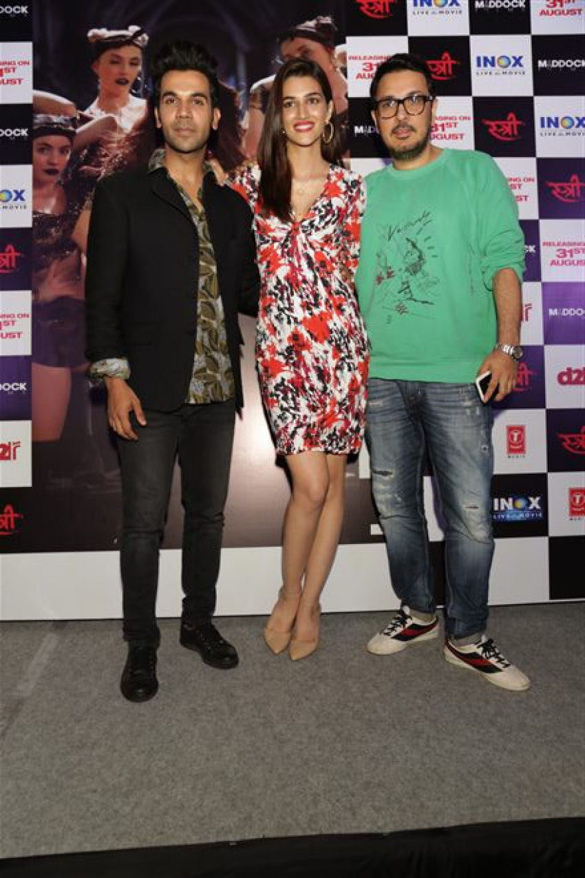 Raj Kumar Rao And Kriti Sanon At Song Launch Aao Kabhi HaveliPe In New Delhi Photos