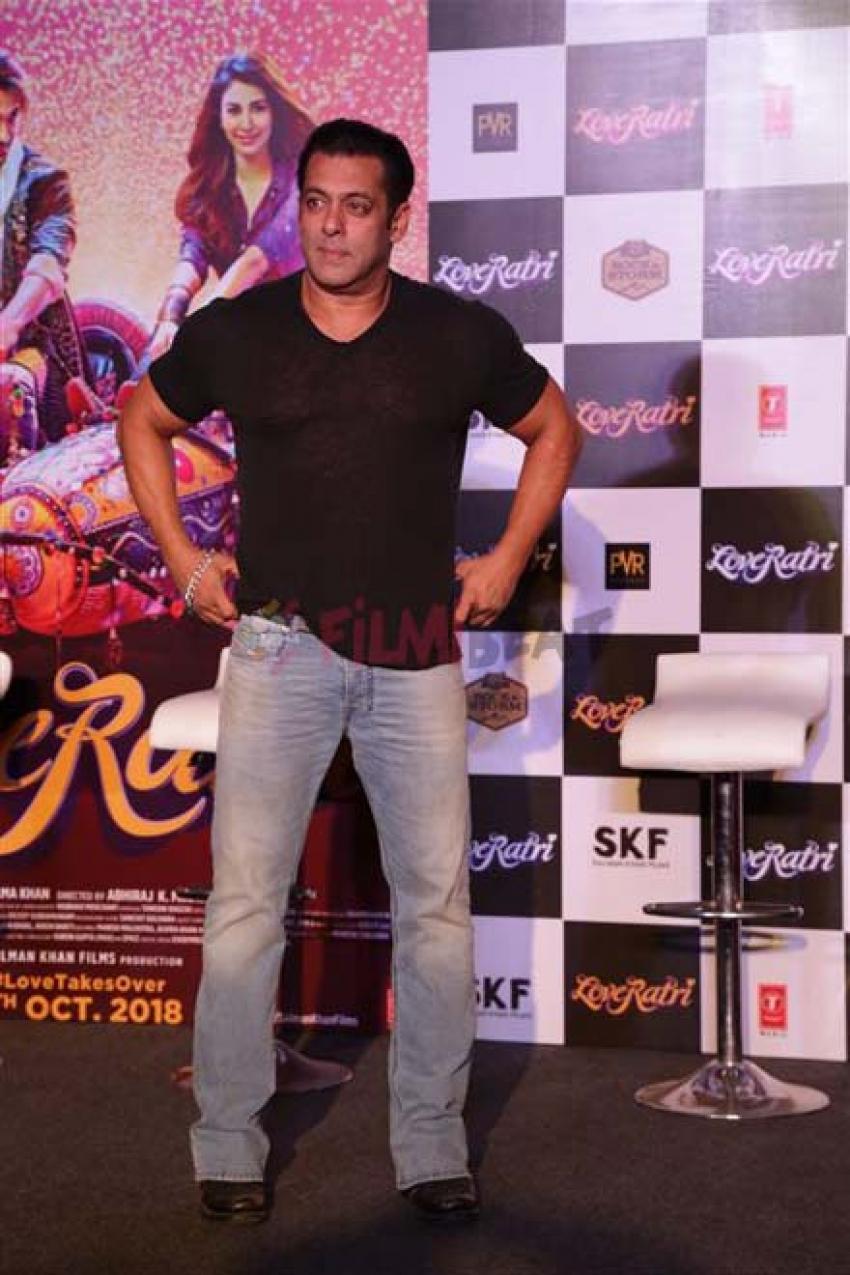 Salman Khan with Family Loveratri Trailer Launch In New Delhi Photos
