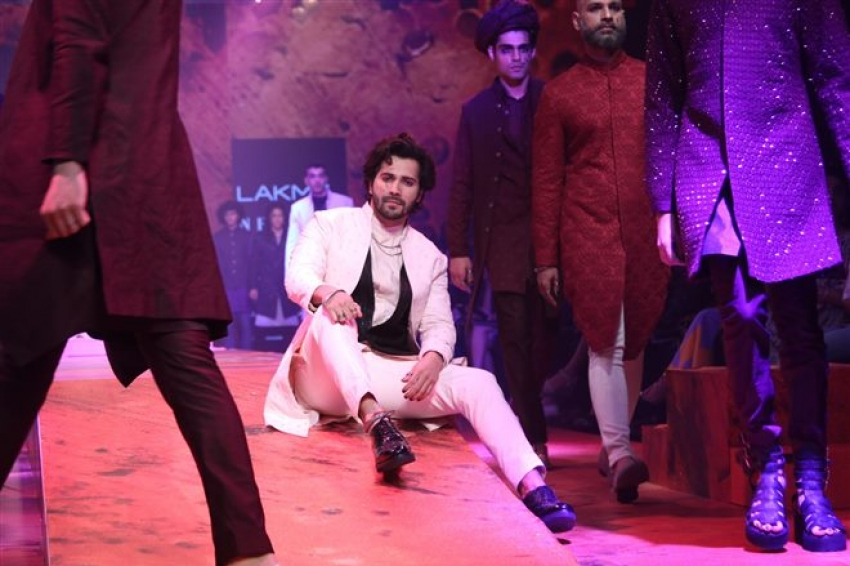 Varun Dhawan walks the Ramp at Lakme Fashion Week 2018 Photos